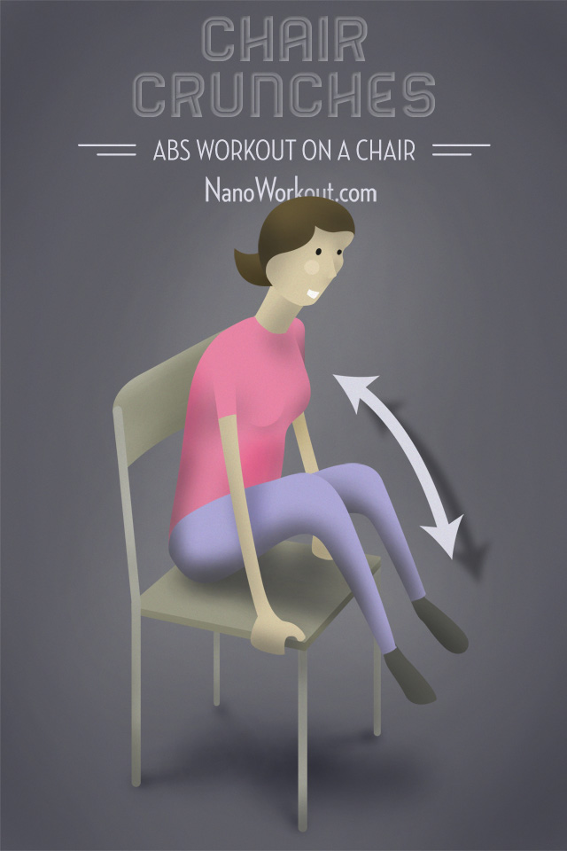 illustrated woman doing crunches on a chair