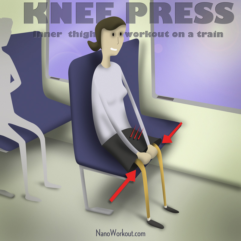 illustration of woman doing inner thigh workout on a train