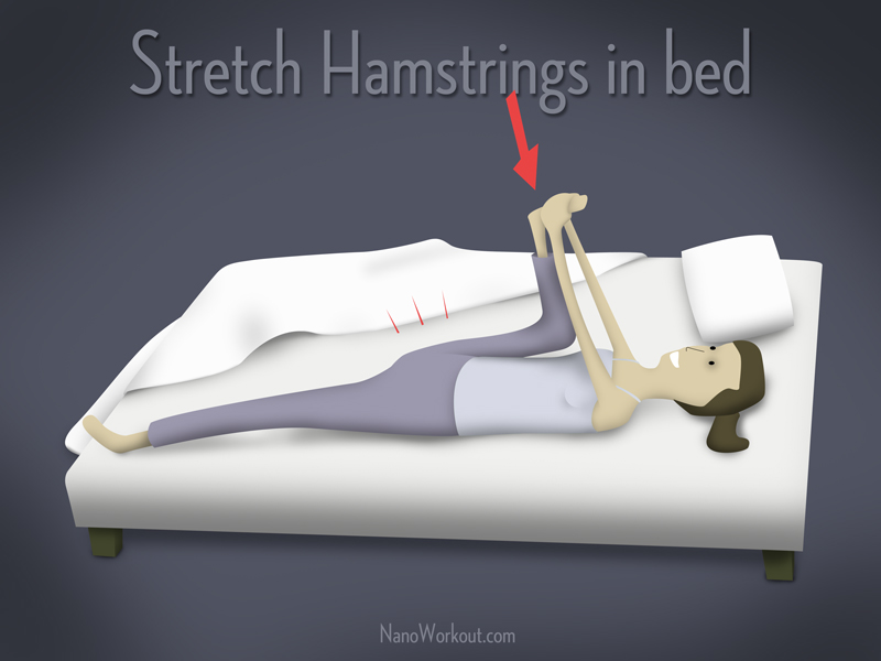 illustration of woman stretching in bed