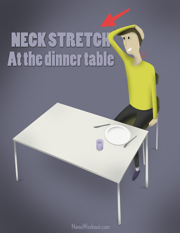 illustration of man stretching at a table