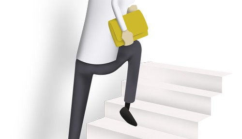 illustration of woman running up stairs