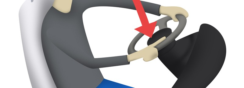 illustration of man stretching hands while driving