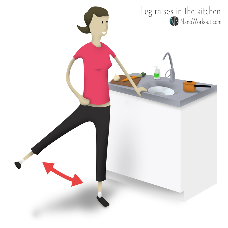 workout illustration of woman doing lateral leg raises in a kitchen