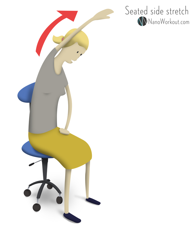 illustration of woman stretching on a chair
