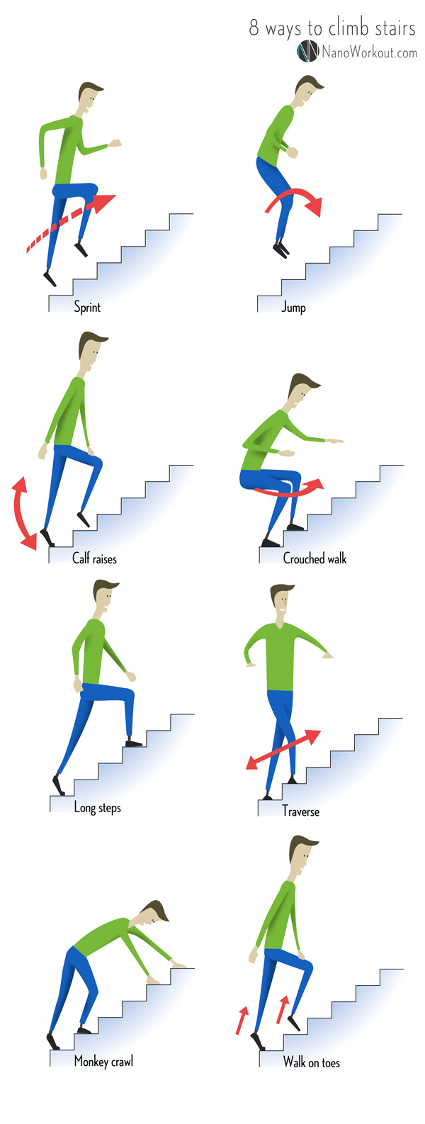 8 ways to climb stairs